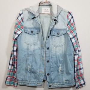 Thread & supply denim jacket with plaid sleeves